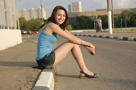 pretty girl sunny road