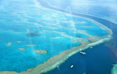 Helicopter ride over the Great Barrier Reef at the Whitsunday Islands, Australia.