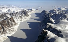 Ice covered Baffin Island fjord