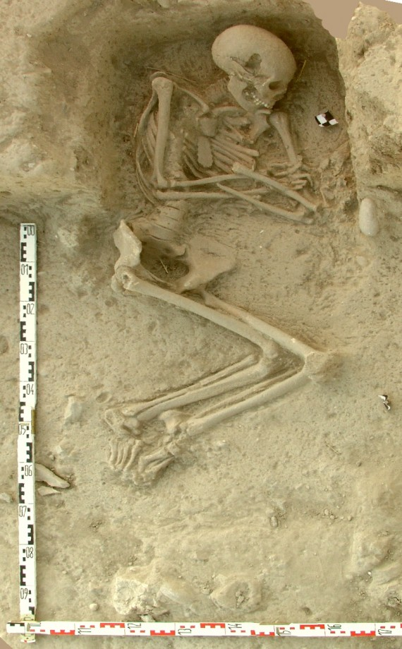 Human skeleton from an archaeological excavation in northern Greece
