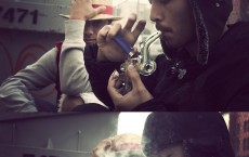 Young man smoking cannabis