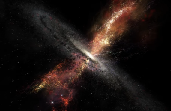 Artist's Impression Of Stars Born In Winds From Supermassive Black Holes