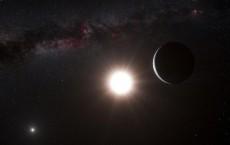 An artist's impression shows the new planet orbiting the star Alpha Centauri B