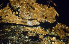 New York City metropolitan area at night from space