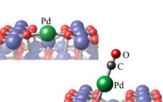 carbon monoxide molecules, which bind to individual palladium atoms