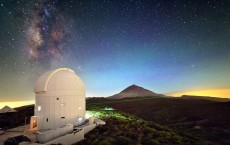 Laser from ESA's optical ground station on the Tenerife islands, Spain.