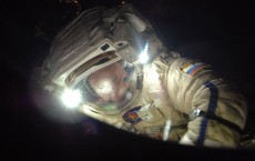 Flight Engineer Alexander Misurkin participates in a spacewalk.