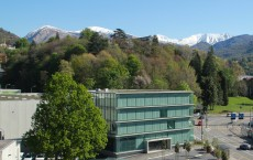 Swiss National Supercomputing Centre's office building (right) from above with a glimpse of the large computer building