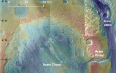 Aram Chaos, the lumpy, bumpy floor of an ancient impact crater on Mars, formed as a result of catastrophic melting and outflow of a buried ice lake.