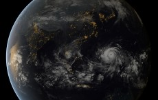 Typhoon Haiyan approaching the Philippines, captured by the geostationary satellites