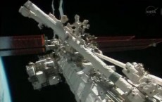 Flight engineers Michael Hopkins and Richard Mastracchio perform a series of spacewalks outside the International Space Station (ISS) in this December 21, 2013 still image taken from a NASA handout