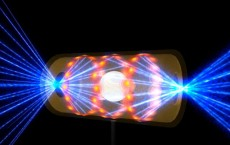 NIF target pellet inside a hohlraum capsule with laser beams entering through openings